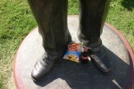 Photo by Hunter Ford/Golden Flake and Coke left at the Bryant statue