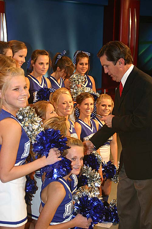 Rick meeting Mortimer Jordan Cheerleaders