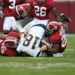 Alabama Football defense at work (courtesy of UA Media Relations)