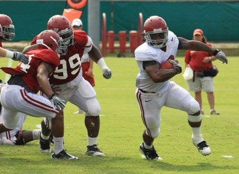 Alabama Football practice #3 Trent Richardson. Photo by Kent Gidley/UA.