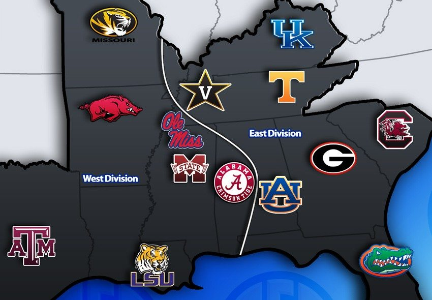 Potential SEC Divisions with 14 teams graphic via Mizzou2SEC.com