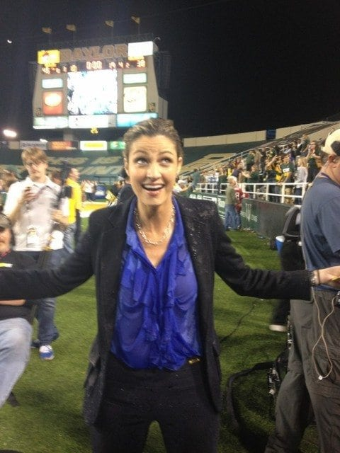 Erin Andrews after a Gatorade Bath following Baylor's win over Oklahoma