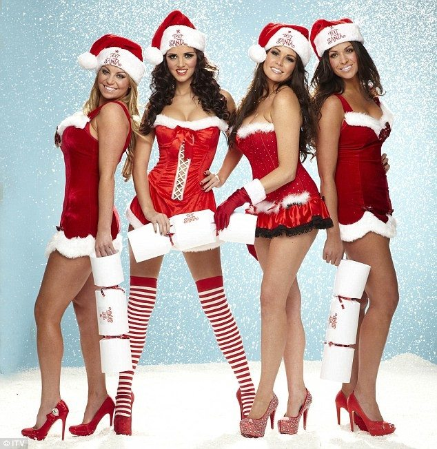 Sexay Santas from The Only Way Is Essex stars (L-R) Billi Mucklow, Lucy Mecklenburgh, Jessica Wright and Cara Kilbey pose in a Text Santa photoshoot.