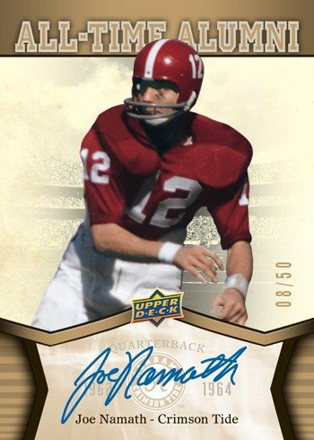 2012 Upper Deck Alabama Football Autograph Card Joe-Namath