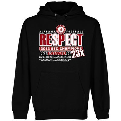 Alabama Crimson Tide 2012 SEC Football Champions Respect Pullover Hoodie - Black