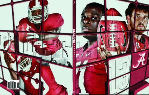 2013 Alabama Football Media Guide Cover Offensive Line