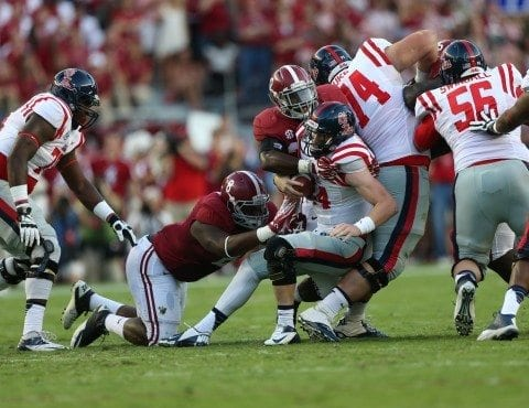 Alabama football player C.J. Mosley was praised by Saban for his effort against Ole Miss.