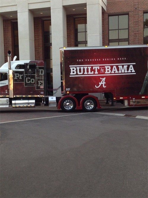 The Alabama equipment truck pulls into College Station on Thursday