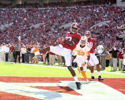 Alabama WR Kevin Norwood catches a touchdown pass from AJ McCarron in Alabama's big win over Tennessee.