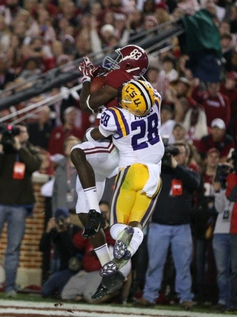 Alabama WR Kevin Norwood catches a touchdown pass from AJ McCarron in a win over LSU.