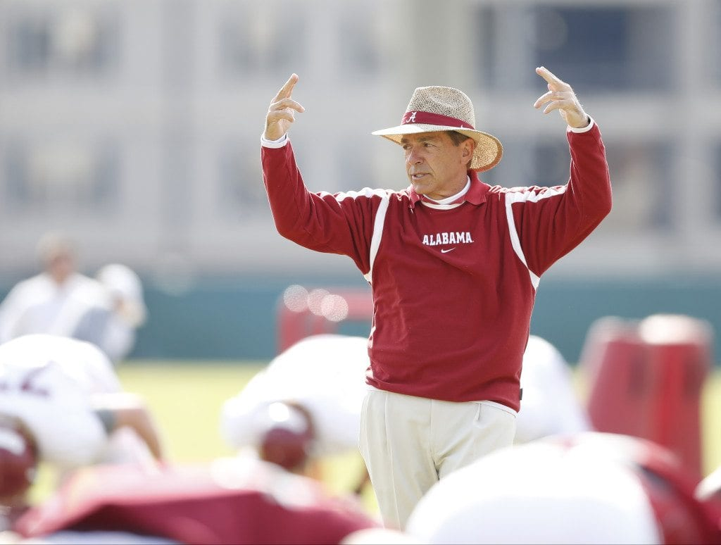 Alabama Football Coach Nick Saban coaches during Spring Practice 2016