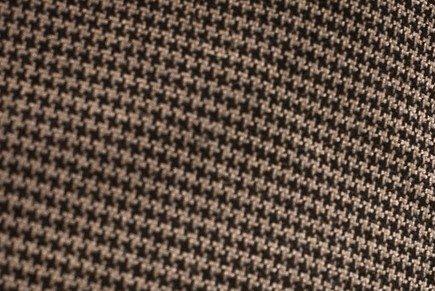 "A close view of a houndsooth pattern on a fedora-style hat similar to the ""Bear"" Bryant style worn by fans of the Alabama Crimson Tide."